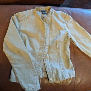 Flattering Small Button Dart Front Khaki Jacket